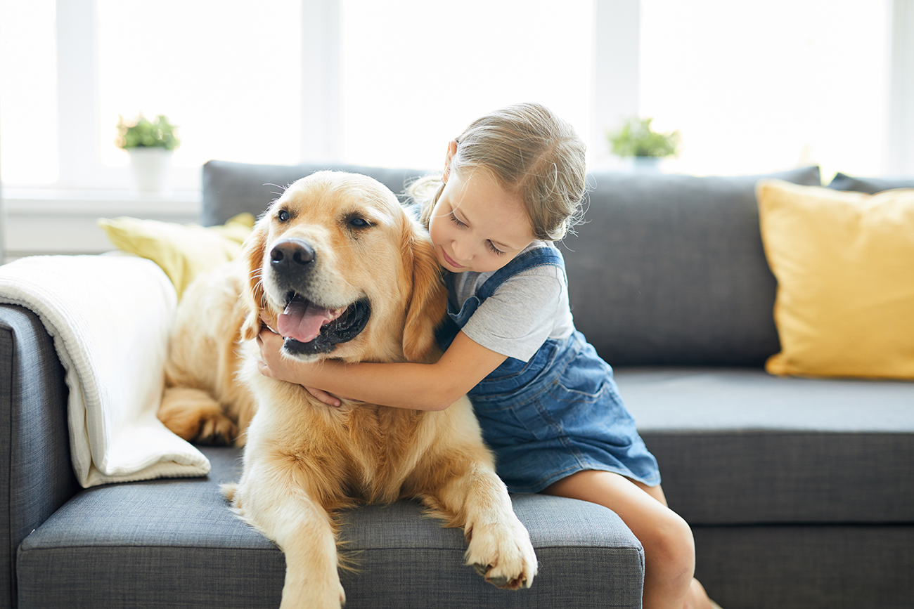 How a young girl hugging a dog can be explained by the science behind weighted blankets